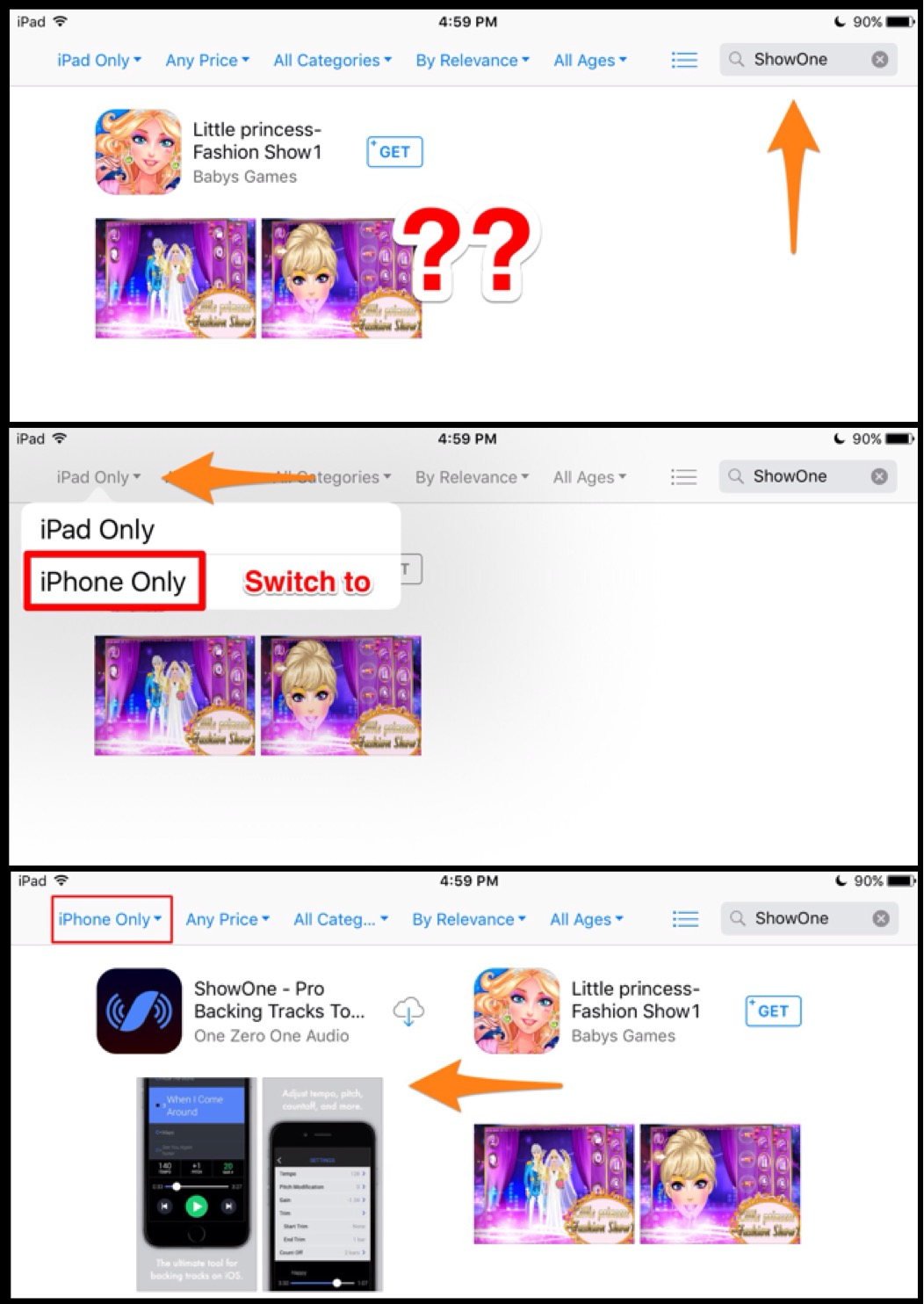 I searched for ShowOne on my iPad and can't find it!